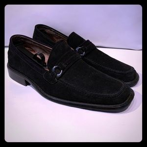 Fratelli Black Suede Leather Slip-On Loafers